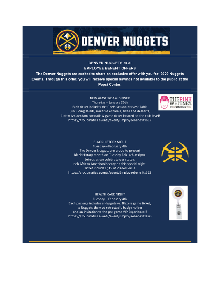 Denver Nuggets only - 2020 - late Jan-and Feb events